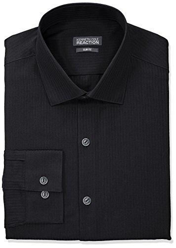Kenneth Cole REACTION Men's Slim Fit Textured Stripe Solid Dress Shirt, Black, 17.5
