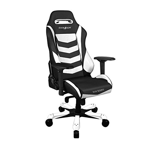 DXRacer Iron Series DOH/IS166/NW Newedge Edition Racing Bucket Seat office chair X large PC gaming chair computer chair executive chair ergonomic rocker With Pillows(Black/White)