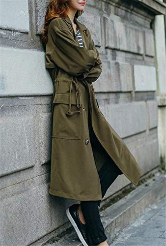 Larga Largos Solapa Cordón Transición Streetwear Con Invierno Mujer Bolsillos De Delanteros Swag Botonadura Gabardinas Manga Armygreen Abrigo Retro Gabardina Pq1EWwF