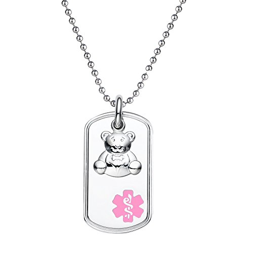 "Divoti Custom Engraved 316L Teddy Bear Charm Medical Alert Necklace -Dog Tag -24"" Stainless Ball Chain-Pink"