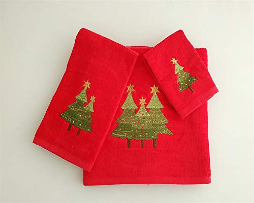 BH Home & Linen Season's Greetings 3 Piece Christmas Theme Embroidery Towel Set Made of 100% Cotton. ((Red) Christmas - Christmas Bath Towel