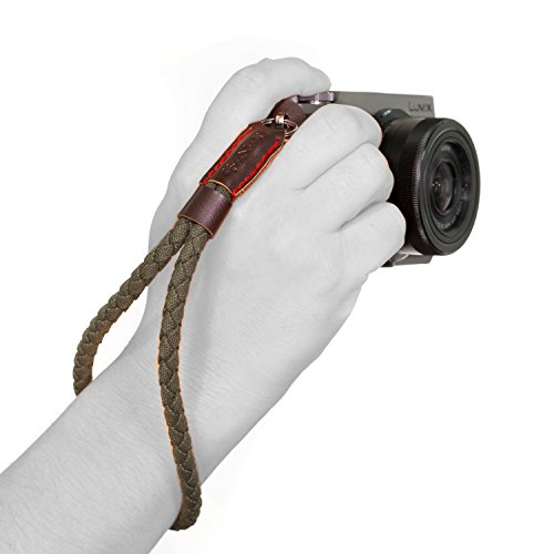 MegaGear Cotton Woven Canvas Wrist Strap - Comfort Padding, Enhanced Hand Grip Stability and Security for All Cameras (SLR / DSLR) - One Size Fits All - Strap Wrist Leather Camera