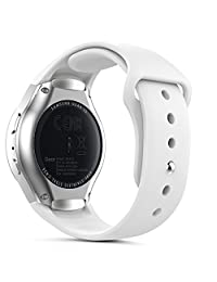 Gear S2 Watch Band (S2 SM-R720 / SM-R730 ONLY), MoKo Soft Silicone Replacement Sport Band for Samsung Gear S2 Smart Watch, NOT FIT S2 Classic (SM-R732 & SM-R735), NOT FIT Gear Fit2 Watch, WHITE