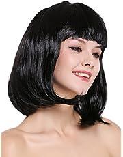 WIG ME UP ® - 0073-3-P103 Peluca Mujer Carnaval Halloween Disco Party Corto Longbob Bob Flequillo Negra