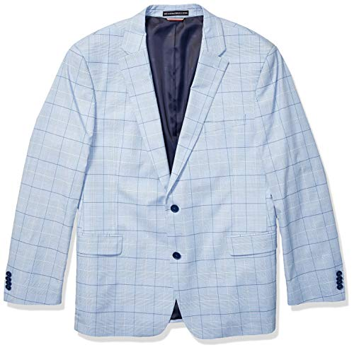 (Tommy Hilfiger Men's Modern Fit Stretch Comfort Blazer, Light Blue Plaid, 44R)