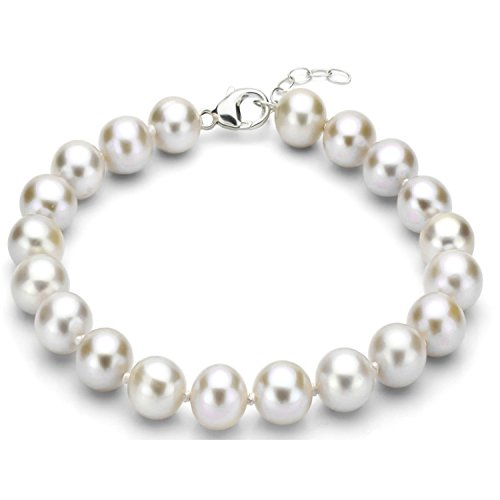 Sterling Silver 11-12mm White Freshwater Cultured High Luster Pearl Bracelet, 7.5
