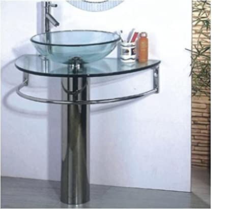 BATHROOM GLASS SINK/WASH BASIN WITH TAP AND POPUP WASTE   CHROME PEDESTAL