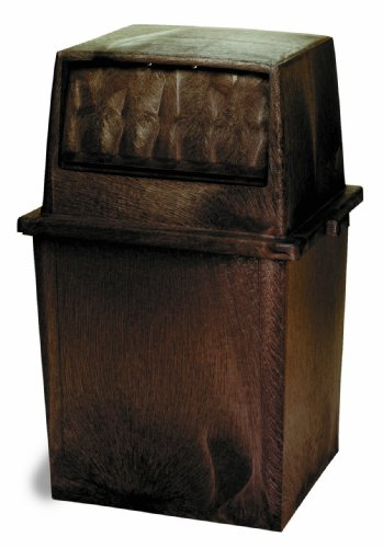 Continental 5750BN, 50-Gallon King Kan HDPE Waste Receptacle, Rectangular, Brown (Case of 1)