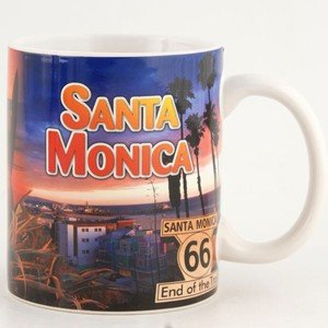 (4 7/18) Santa Monica Coffee Mug Collage Full Wrap 11oz With Copyrighted CA Bear Magnet