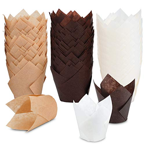 TRUSBER Tulip Cupcake Liners, 150 pieces Baking Cups Baking Cup Holders and Muffin Baking Cups for Wedding, Birthday, Christmas, Baby Shower Parties, Brown, White and Nature color