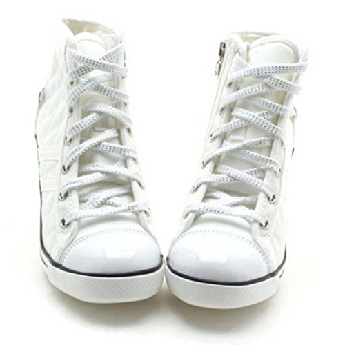 7da68e1356f EpicStep Women s White Canvas Shoes High Top Wedges High Heels Quilted Casual  Fashion Sneakers 7 M
