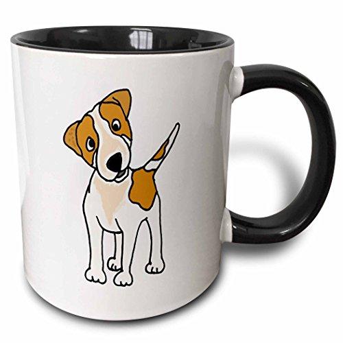 3dRose 200198_4 Funny Jack Russell Terrier Original Art Cartoon Ceramic Mug, 11 oz, Black/White