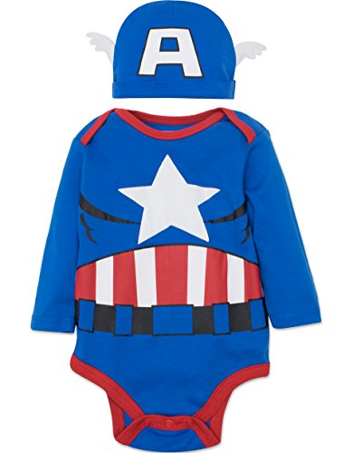 Captain Baby Costumes America (Marvel Captain America Baby Boys' Costume Long Sleeve Bodysuit and Cap Set Blue, 6-9)
