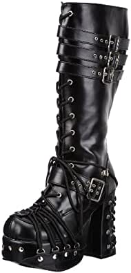 Demonia by Pleaser Women's Charade-206 Lace-Up Boot,Black Polyurethane,10 M US