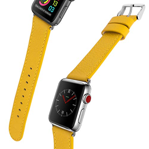 Ltd Yellow Watch - for Apple Watch Band, 44mm 42mm 40mm 38mm iWatch Band Genuine Leather Strap Stainless Metal Buckle for Apple Watch Series 4,Series 3,Series 2,Sport & Edition (Spring Yellow, 42MM)