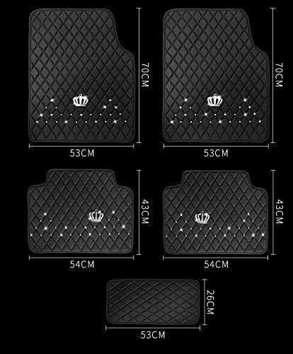 U So Shiny Bling Diamond Crown Waterproof Anti Slip Car Floor Mats Girls Women Crystal Flower Universal Car Foot Mats