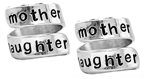 Mother Daughter Ring Set - Personalized Rings - Adjustable Aluminum Wrap Ring - Best Gift