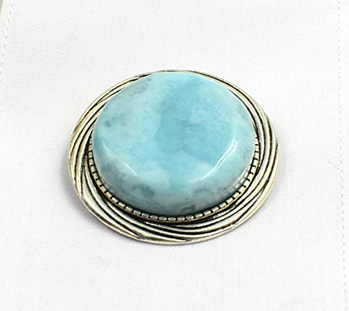 Larimar Big Bold Blue Gemstone Brooch Pin Jacket Blouse Blazer Dress Accessory ()