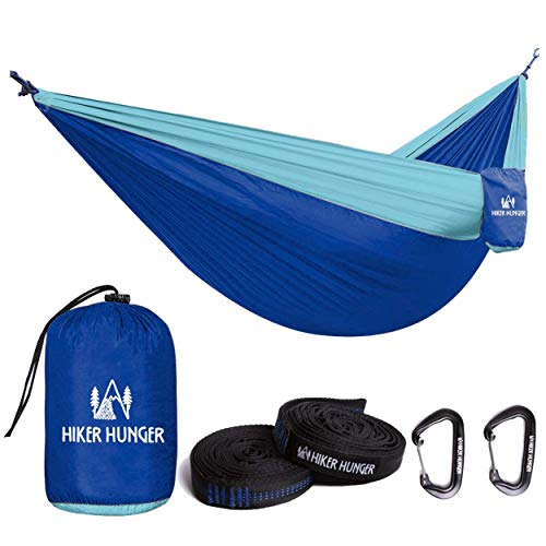 Hiker Hunger Outfitters Hammock Camping Double with Tree Straps & Carabiners - USA Based Outdoor Brand - Large Double Size, Portable & Ultra Light (Blue Hammock Set)