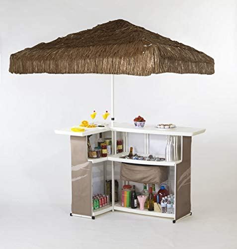 Best of Times 2001W1330P Solid PALAPA Portable Bar and 8 ft Tall Square Umbrella