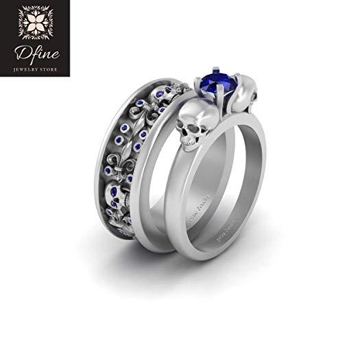 Solid 10k White Gold Skull Wedding Band Ring Set Solitaire Sapphire Blue Fleur De Lis Royal Couple Rings
