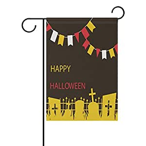 """ALIREA Happy Halloween Flags and Tomb Polyester Garden Flag Outdoor Flag Home Party Garden Decor, Double Sided, 12"""" x 18"""""""