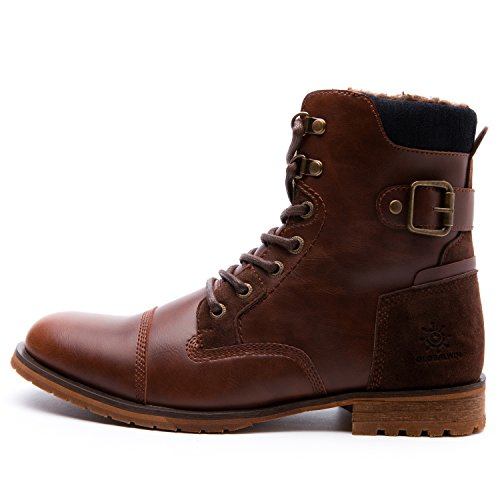 Global Win GLOBALWIN Mens Fashion Lace Up Cap Toe Winter Ankle Combat Boots Brown IyOEzONtOn