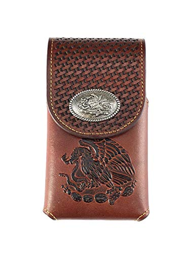 Western genuine Leather eagle concho Belt Loop Cellphone Holster Case - Clip Concho