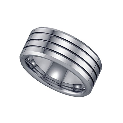 Jewels By Lux Tungsten Triple Groove Mens Comfort-fit 9mm Wedding Anniversary Band Ring - Size 12 by Jewels By Lux