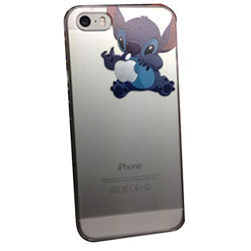 iPhone 5G 5 5S Lovely Disney Cartoon Lilo and Stitch Eating/ Grabbing Apple logo Cute Clear Case Cover for Iphone 5 and 5s Xmas Gift (Stitch05 for 5/5S) by - The Supermall