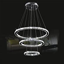 LightInTheBox LED K9 Crystal Chandelier Lighting Lamps Transparent Round 3 Rings Light Fixture 110-120V Cold White