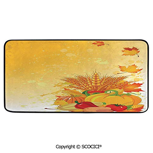 - Soft Long Rug Rectangular Area mat for Bedroom Baby Room Decor Round Playhouse Carpet,Harvest,Vivid Festive Collection of Vegetables Plump Pumpkins Wheat,39