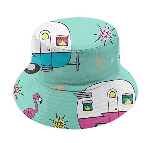 Women Men Bucket Hat Outdoor Sun Cap Boonie Cap - Colrful Happy Camper Van Flamingos]()