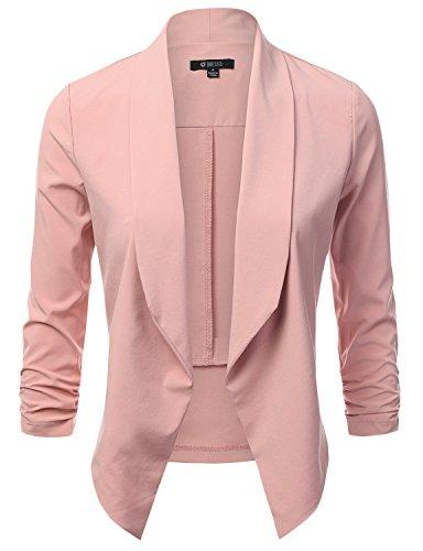 (DRESSIS Womens Lightweight 3/4 Ruched Sleeve Open Front Blazer LIGHTPINK 3XL)