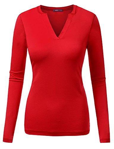 Doublju Womens Basic Long Sleeve Open Slit Rayon Neckline T-shirts Red X-Large