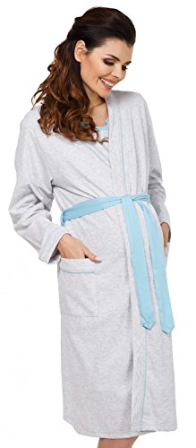 Zeta Ville Maternity - Womens Nursing Nightdress Robe Set Labour Hospital - 767c (Blue, US 8/10, L)