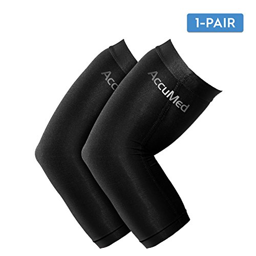 AccuMed Elbow Brace Compression Sleeve (1 Pair) - Arm Support Elbow Sleeve for Tendonitis, Arthritis, Bursitis, Weightlifting, Golf, Tennis, Pain Relief, Recovery, Copper Fiber, for Men & Women Large