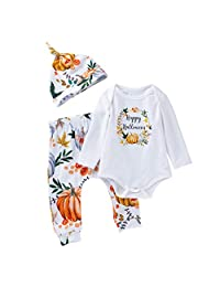 Huarll Infant Baby 'Happy Halloween' Outfit for Girls Long Sleeve White Romper + Ghost Print Pants Set + Hat