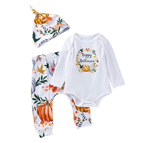 Toddler Kids Halloween Costume Outfit 3 Pcs,Crytech Soft Cotton Pumpkin Ghost Pattern Floral Long Sleeve Romper Pants and Hat for Baby Boy Girl Party Photoshoot Clothes (0-3 Months, White)