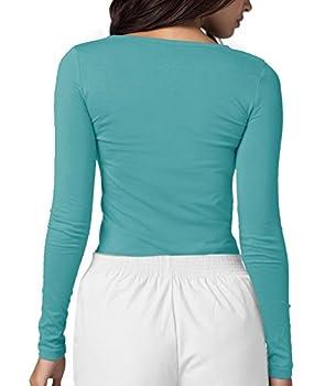 Adar Womens Comfort Long Sleeve T-shirt Underscrub Tee - 2900 - Aqm - S 1
