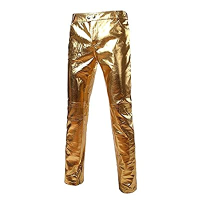 Cheap OnIn Fashion;Handsome Mens Side Zipper Design Moto Jeans Style Metallic Gold Pants/Straight Leg Trousers for cheap