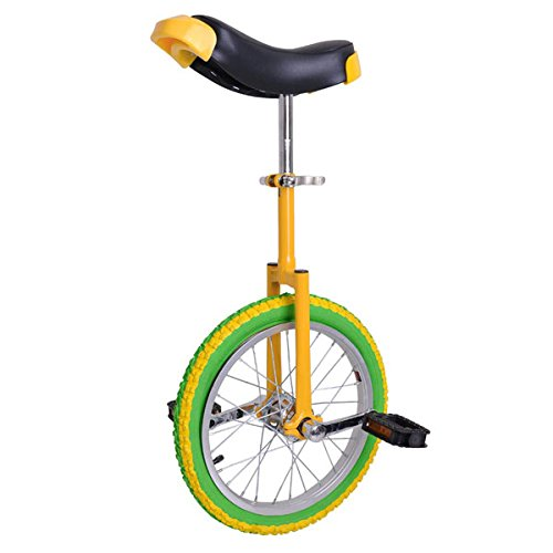 16 Inches Wheel Unicycle Comfort Saddle Seat Skid Proof Tire Pedal Balance Strength Lemon w/ Steel Yellow Frame for Performance Uni-Cycle Bike Cycling Riding Exercising