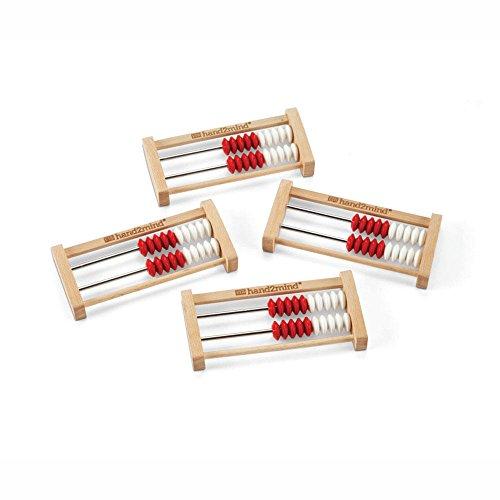 hand2mind 20-Bead Mini Wood Rekenrek, Math Counting Frames (Pack of 4)