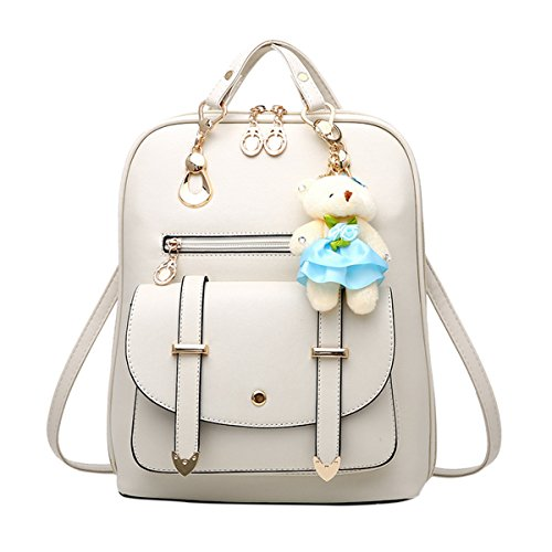 - ABage Women's Backpack Purse Cute Convertible Faux Leather Travel School Backpack, Beige