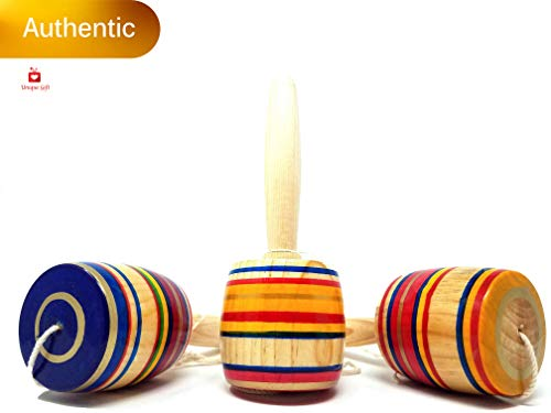 Mexican Toy - New | Alondra's Imports (TM) Elegantly Handcrafted, Classic Wooden Baleros, Made in Mexico (Valero, Baleros Mexicanos, Balero Toy from Mexico) Unique Assorted Colors - Set of 3