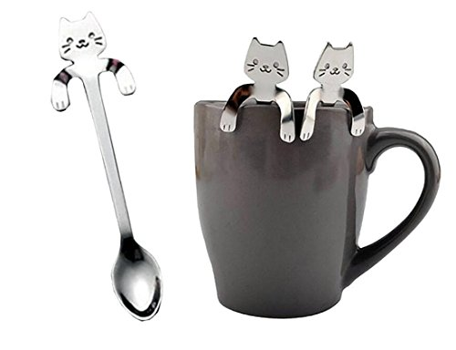 Longay 1 PCS Cute Cat Spoon Long Handle Spoon Tea Spoon Ice Cream Dessert Cake Spoon Flatware Drinking Tools Kitchen Gadget (A)