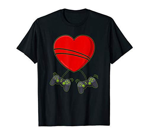 Video Gamer Heart Controllers Valentines Day Boys Girls Kids T-Shirt