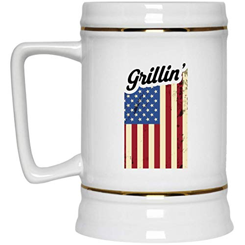 (Grilling BBQ Party Memorial Day American Flag Vintage Beer Stein, Memorial Day Beer Stein Gifts)