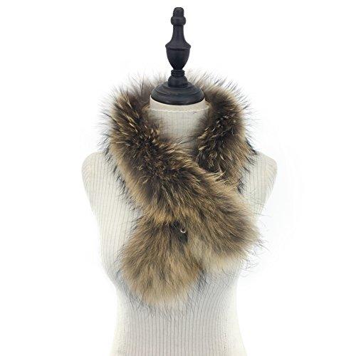 MINGCHUAN Natural Raccoon Fur Collar Large Detachable Fur Collar for Winter Coat
