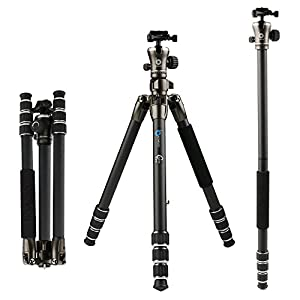 BONFOTO B671C Tripod Carbon Fiber Lightweight Portable Travel Compact Camera Tripod with 360 Degree Ball Head and Carrying Bag For Canon, Sony, Nikon, DSLR Cameras